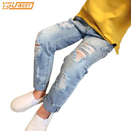 trend jeans Canada - Baby Boys & Girls Ripped Jeans Spring Summer Fall Style New 2017 Trend Denim Trousers For Kids Children Distrressed Hole Pants