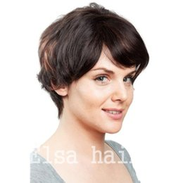 celebrity hairs NZ - Human Hair Wig Short hair Pixie Cut Natural Black Rihanna Cut Wigs For Black Women African American Celebrity machine made Wigs