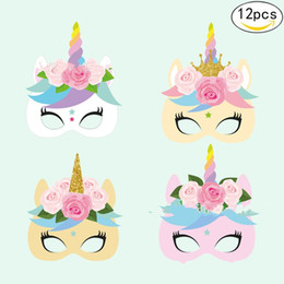 Dress up animal masks online shopping - Paper Unicorn Face Mask In set Unicornio Masquerade Masks For Kids Party Cosplay Costume Dress Up Multi Design pc YZ