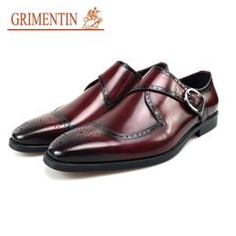 Grimentin Shoes UK - GRIMENTIN Hot Sale Mens Dress Shoes Italian Fashion Brand Men Oxfords Genuine Leather Black Brown Slip On Formal Business Mens Shoes CW