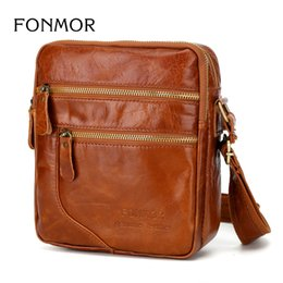 small wax bags 2019 - New Oil Wax Leather Bag Men Crossbody Bags Vintage Shoulder bag Cowhide Double Zipper Travel Small bags Man cheap small