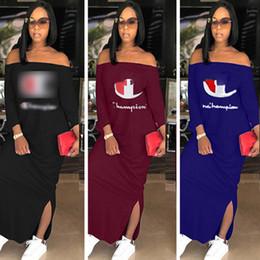 Женщины Чемпионы Длинные Сплит Платье С Длинным Рукавом Плеча Из Балахон Платья Осень Осень Мода Сплошной Цвет Свободные Юбки Плюс Размер Одежды