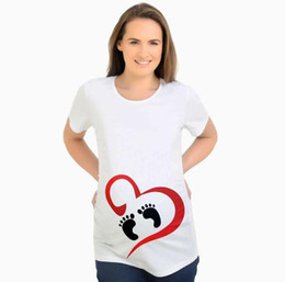 5ae3d2d6ddd43 Fashion Tops for Pregnant Women Summer Short Sleeve Maternity Tees Love  Footprint Funny Pregnancy T-shirts Mother Casual Tops