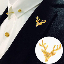 Discount fine men - SAVOYSHI Classic Gold-color Deer Men Lapel Pin Brooches Pins Fine Gift for Mens Brooches Collar Party Engagement Jewelry