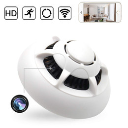 Chinese  Wholesale 1080P WiFi Mini Camera UFO IP Indoor Smoke detector wireless Cam Pet baby Monitor Nanny Cam with Motion Detection, Drop shipping manufacturers