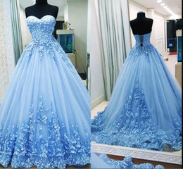 girls dress 16 years 2018 - Light Blue Sweetheart Lace Ball Gowns Quinceanera Dresses Tulle Applique Long Prom Gowns Sweety Girls 16 Years Dresses W
