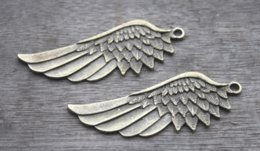 TibeTan silver angel wing charms online shopping - 5pcs Angel Wings Charms Antique Tibetan bronze Angels Fairy Feathers Wing charm pendants x22mm