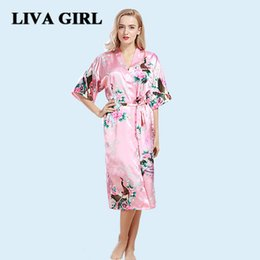 China Liva girl silk robes for women satin robe 2017 autumn The peacock gown lady fall cardigan sexy nightgown silk pajamas XXL XXXL cheap black sexy girls pajamas suppliers