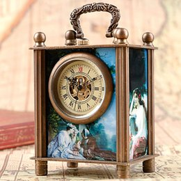 Antique Steel Box Canada - Exquisite Antique Painted Carved Mechanical European Style Fashion Wind Up Hand Winding Desk Clocks Retro Trendy Women Gift Box Best Gifts