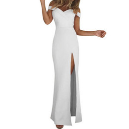 Black Strapless Long Dress Split Vintage UK - LASPERAL 2018 Summer Sexy Off The Should Women Party White Dress Vintage Female Summer Solid Split Strapless Long Dress Vestidos