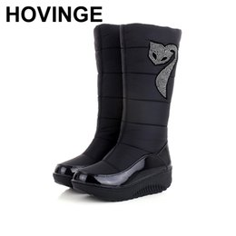 Down Shoes NZ - HOVINGE 2018 Winter Russia keep warm snow boots women Cotton shoes fashion platform down fur boots half knee high