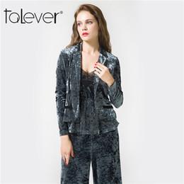 Leg Jacket NZ - Talever Women's Velvet Suit Sets Ladies Single Button Suit Jacket Sexy Camisoles and Wide Leg Pants Woman Suits Female 3 Pieces