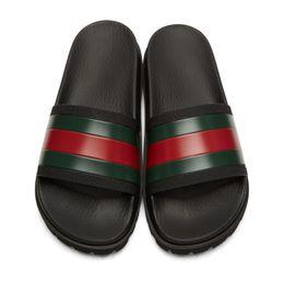 e3f470c67697 hot Designer sandals Signature slide Luxury Fashion mens causal Non-slip  summer slippers green red green striped sandals for men size 38-46.