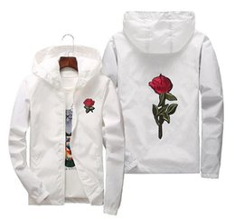 Men s white wool cardigan online shopping - NEW GACKETRose Jacket Windbreaker Men And Women s Jacket New Fashion White And Black Roses Outwear Coat