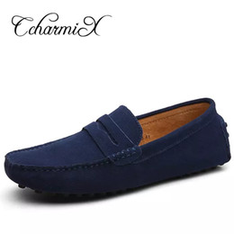 b071a8be3e6428 New Men Casual Suede Leather Loafers Black Solid Leather Driving Moccasins  Gommino Slip on Men Loafers Shoes Male Loafers Big Size