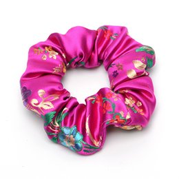China 1PCS Satin Silk Hair Scrunchies Elastic Hair Bands Ties Embroided Bohemia Girls Accessories Women Girls Ponytail Holder supplier silk bohemia suppliers