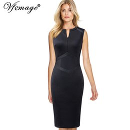 a0f3089bfc9b5 wholesale Womens Elegant Front Zip Up Patchwork Slim Wear To Work Office  Business Party Cocktail Bodycon Pencil Sheath Dress 550