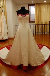 Strapless Satin Short Wedding Dresses Australia - White And Red Satin Embroidery A Line Wedding Dresses Strapless Chapel Train Lace Up Real Photos 2019 Vintage Church Bridal Wedding Gowns