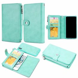 silicone wallet zipper 2019 - Multifunction Zipper PU Leather Wallet Case For IPhone X 8 7 Plus 6 6S Flip Cover Frame Photo ID Card Slot Money Pocket