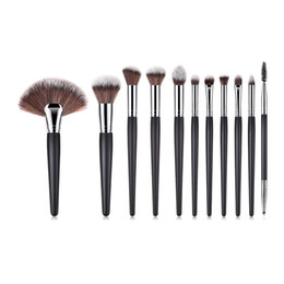Hair Fans UK - 10pcs Makeup Brushes Set High Quality Wood Handle Synthetic Hair Eyeshadow Eyebrow Brush Large Fan Brush For Makeup Artist