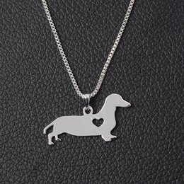 dachshund pendant 2019 - Silver Dachshund Necklace New Cute Little Puppy Dog Pendant Necklace for Men & Women Jewelry