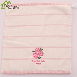 cotton baby washcloths 2019 - 34x34cm100% Cotton Baby Face Hand Washcloth Soft Quick Dry Bath Towel Pink Rose Fragrance Embroidered Towel discount cot