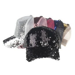 China Glitter Ponytail Baseball Cap 6 Colors Snapback Hip Hop Caps Women Messy Bun Sequins Shine Summer Mesh Trucker Hats cheap wholesale glitter hats suppliers