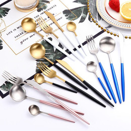 white kitchen sets 2019 - Stainless Steel Flatware Set 8 Colors Fork Spoons Knife Cutlery Sets 4pcs Set Western Tableware Kitchen Tools OOA5547 ch