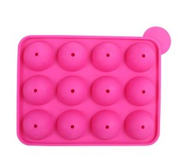 China 12 wells Silicone Tray Pop Lollipop Pops Mould Case Cupcake Baking chocolate Mold Party Kitchen Tools 10pcs lot suppliers