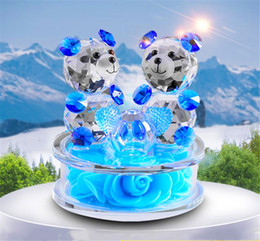 souvenir cars NZ - Rose Flower Crystal Glass Animals Bear Figurines Ornaments Christmas Home Car Decoration Perfume Bottle Feng shui term Gift