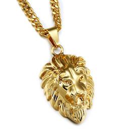 vintage lion pendant 2019 - 2018 Hip Hop Lion Head Pendant Necklace Gold Vintage Animal King With 75cm Long Cuban Chain For Men Women Fashion Jewelr