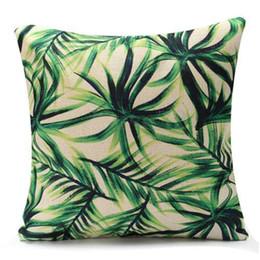 b6e7b11fab1f HOT SALE Green Leaf flax Throw Pillow Case Pillow Cover Home (Palm)