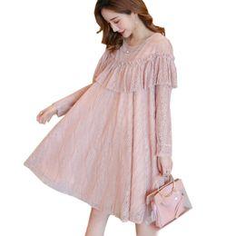 Maternity Elegant Clothes Autumn Plus Size Loose Ruffles Lace Dress for Pregnant  Women Pregnancy Korean Fashion Dresses 2colors b6641d719eb5