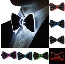 Discount light up bow tie - 2019 Hot sales EL Wire Bow Tie LED Light Up Flashing Striped Luminous Tie For Men Club Cosplay Party Glowing Supplies Ba
