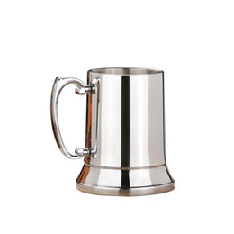 stainless steel beer mugs UK - 450ML Stainless Steel beer mugs Double Wall home bar party Tankard Beer water wine glasses with box