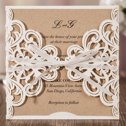 ribbon buckles for wedding invitations Canada - Wishmade Laser Cut Wedding Invitation Cards With Ribbon Bowknot 50pcs Lace Flower Design Cardstock for Marriage Birthday Party Favors