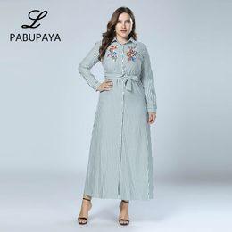020df328c2 Boho Style Long Sleeve Maxi Dress Women Shirt Dresses Floral Print Vintage Muslim  Robe Kaftan Robes Striped Button Down Gown