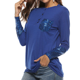 815cd72f58 Sequined Button Long Sleeve Autumn Women T-Shirts O-Neck Sequin Female  Casual Patchwork Pocket Basic Top T Shirt Plus Size GV213