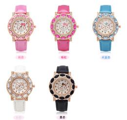 afbd6d30580 Lovely Hello Kitty Watch Children Girls Women Fashion Crystal Dress Quartz  Wristwatches Kids Watch 1072