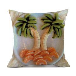 Plain Pink Black Bedding UK - Cotton Linen 3D Fruits Pillow Cover Waist Back Cushion Case Cover Bags Pillowcase Home Decorate Bedding 45x45cm