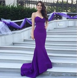 Wholesale 2018 Sexy Purple Mermaid Evening Dresses Sweetheart Sleeveless Simple Design Special Occasion Dresses Custom Made Charming Prom Dresses