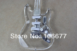 Free Shipping New Arrival Top Quality Acrylic Guitar F ST Custom 4 Kinds of LEDs Electric Guitar Factory Guitar