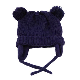 Baby Boy Skull Crochet Beanies Australia - Kids Pom Pom Hat Baby Winter Crochet Earflap Hat Girls Boys Knitted Beanie Double Two Real Fur Pompom For Children