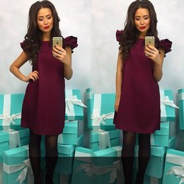 Discount loose wine - Women Casual Loose Beach A-Line Dress vestidos 2018 New Summer O-Neck Short Sleeve sexy party wine red dress Mini Plus s