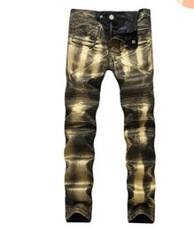 $enCountryForm.capitalKeyWord UK - high-street exclusive Paint gold tight slim fit motorcycle jeans bl fashion style biker jeans