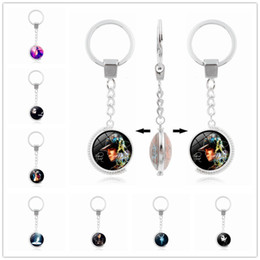 double rings chains UK - Michael Jackson key ring King Of Pop Michael Jackson Time Gem Cabochon key chain Double side rotatable glass keychain