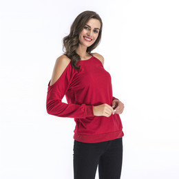 8a01d8894f3 New Spring Autumn 2019 Women T-shirts O-neck Long Sleeve Off Shoulder Sexy  Shirt Red Blue Black High Stretch Loose Women Tops