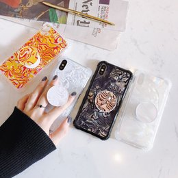 Iphone Retractable Case Australia - Beauty Seashell Pattern Phone Case Kickstand Retractable Airbag Bracket Conch Shell Texture Back Cover Shield for iPhone X 10 4.7 5.5