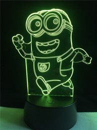 novelty 3d minions night light desk lighting 7 colors for child baby gift led table lamp touch lighting