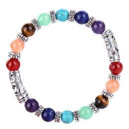 ladies fashion bracelet design 2019 - New fashion design lady 8mm natural stone ancient silver accessories yoga Buddhist seven chakra bracelet burst models ho